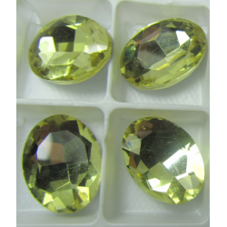 Cabochon Ovale Sfaccettato  in Vetro  13 x 18  mm Light  Lemon  - 1 pz