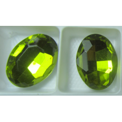 Oval Faceted Glass Cabochon 13 x 18 mm  Lemon/Olivine  - 1 pc