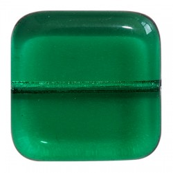 Glass Beads Vintage Collection Par Puca®  Square 16 x 16 x 5  mm   Emerald   - 5  pcs