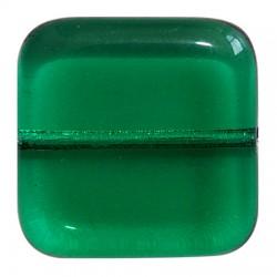 Perle in Vetro Collezione Vintage  Par Puca®  Quadrato  16 x 16 x 5 mm  Emerald   - 5  pz
