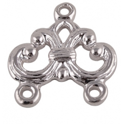 Link 1/2 Strand,   15x17 mm,  Silver Color Plated - 2  pcs