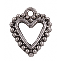 Heart Pendant 17x14 mm, Antique  Silver Color Plated - 1 pc