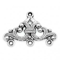 Link 1/3 Strands,   14x24 mm,  Silver Color Plated - 2  pcs