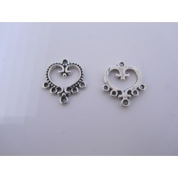 Heart Link 1/6 Strands,  19x21 mm,  Antique Silver Cor Plated - 2  pcs