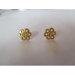 Zamak  6 Petals Flower Ear Stud  15 mm  Gold Mat  Color - 2  pcs