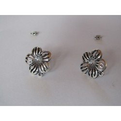 Zamak  Openwork Flower Ear Stud  19 mm Silver  Mat  Color - 2  pcs