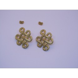 Zamak Celtic Knot Ear Stud  27x21 mm  Gold Mat  Color - 2  pcs