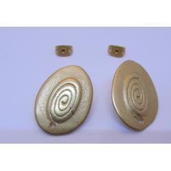 Perno in Zama Ovale Pieno  23x16  mm  Color Oro Opaco -   2 pz
