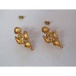 Zamak Oblong Flower Ear Stud  26x15 mm  Shiny Gold/Bronze Color - 2  pcs