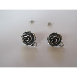 Zamak   Rose Ear Stud  16 mm  Nickel/Black   Color - 2  pcs