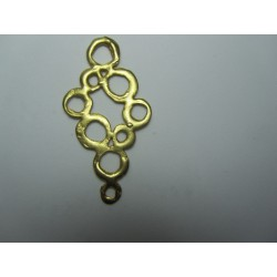 Zamak  Openwork Drop  Pendant 52x30 mm  Gold Mat  Color - 1  pc