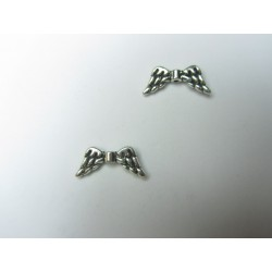Angel Wings,  20x9  mm,  Silver Color  Plated -  5 pcs
