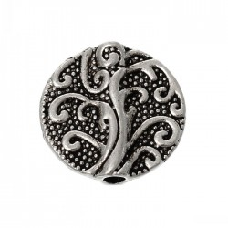 Spacer Bead 13 mm, Flat Round  Carved, Antique Silver  Color - 5 pcs