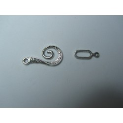 Alloy Toggle Clasp   12x26   mm, Vorlical Shape,   Dull  Silver Color  - 1 pc
