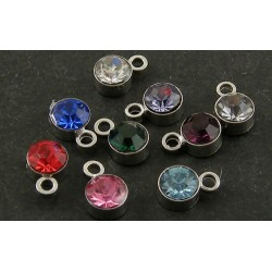 Round Rhinestone and Brass Pendant/Charm  4  mm  Mixed Colours  - 5  pcs