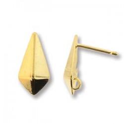 Perno Orecchino  Ottone Papillon Lavorato  11x18  mm  Bronzo Anticato  (senza anellino) -  2 pz