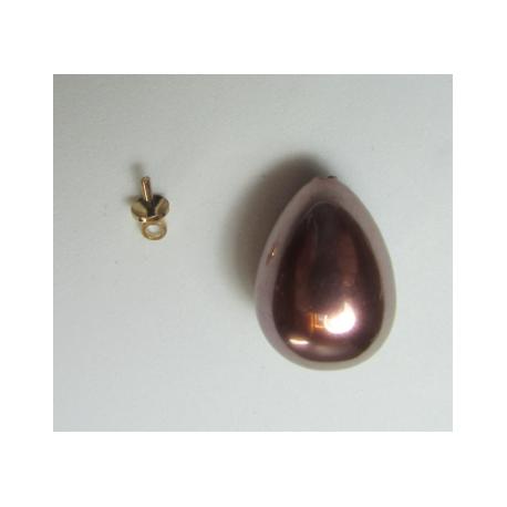 Goccia Resina Mezzo Foro   18x13 mm Rose Bronze  Luster  -  1 pz
