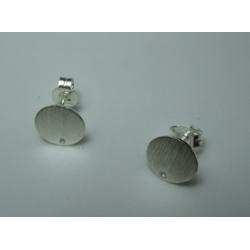 925 Sterling Silver Ear Stud  Flat Round 10  mm  - 2 pcs