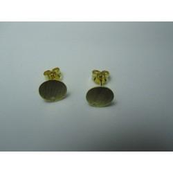 Perno in Argento 925 Tondo Piatto Rodiato Dorato 10 mm con Farfalline - 2 pz