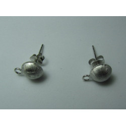 925 Sterling Silver Ear Stud Mat Orb 7,5 mm with Earring Back - 2 pcs