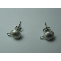 Perno in Argento 925 Pallina Opaca 7,5 mm con Farfalline - 2 pz