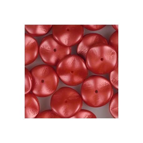 Ripple Beads 12 mm Pastel Dark Coral - 10 pcs