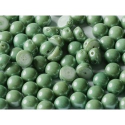 2-hole Cabochon 6 mm Opaque  Teal  Luster  -  10 pcs