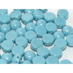Cabochon Doppio Foro 6 mm  Opaque Turquoise  Shimmer -  10 pz