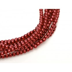 Glass Pearls  2 mm  Brick Red - 50 pcs