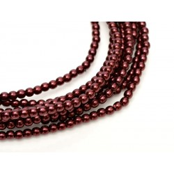 Glass Pearls  2 mm  Wine   - 50 pcs
