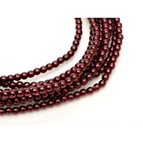 Glass Pearls  2 mm  Wine   - 50 pcs