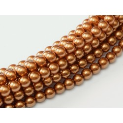 Glass Pearls  8 mm Copper  - 25 pcs