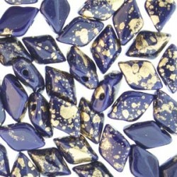 GemDuo  8 x 5 mm Gold  Splash Royal Blue   Opaque  - 5 g