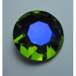 Round Glass  Cabochon  27 mm Olivine    AB  - 1 pc
