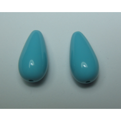 Resin Drops Luster  Effect 23x11 mm  Turquoise Blue -  2 pcs