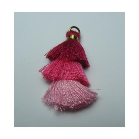 3 Layer Tassel  4  cm  Fuchsia/Pink Shade    - 1 pc