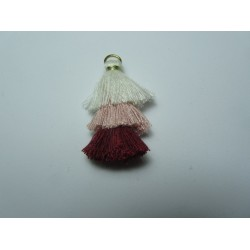 3 Layer Tassel 4 cm White/Pink/Bordeaux - 1 pc