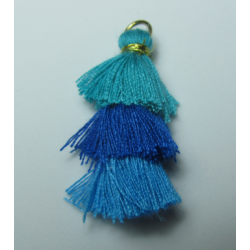 3 Layer Tassel  4  cm  Dark Blue/Blue/Light Blue  - 1 pc