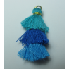3 Layer Tassel  4  cm  Turquoise Blue/Bluette/ Blue  - 1 pc