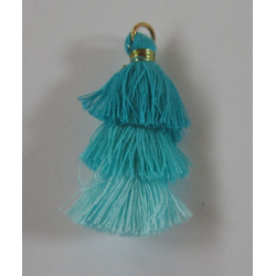 3 Layer Tassel  4  cm  Turquoise Green/Aqua  Shadows  - 1 pc