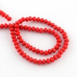 Rondelle Sfaccettate in Vetro 3 x 2  mm Red  - 1 Filo da circa 38 cm