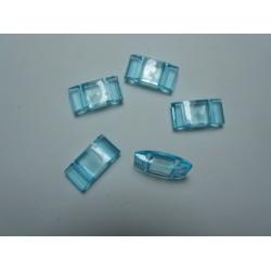 2-Hole Acrylic Carrier Beads 17x9x5 mm Transp. Light Aquamarine - 10 pcs