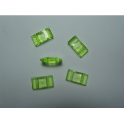 2-Hole Acrylic Carrier Beads 17x9x5  mm  Transp. Light  Green  - 10  pcs