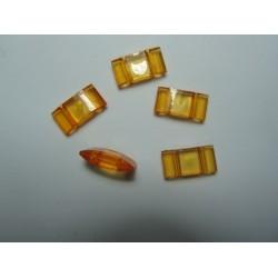 2-Hole Acrylic Carrier Beads 17x9x5  mm  Transp. Light  Orange  - 10  pcs