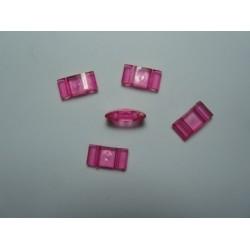 2-Hole Acrylic Carrier Beads 17x9x5 mm Transp. Fuchsia - 10 pcs
