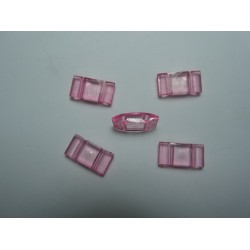 2-Hole Acrylic Carrier Beads 17x9x5  mm  Transp. Light  Rose  - 10  pcs