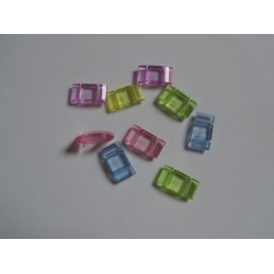 2-Hole Acrylic Carrier Beads 17x9x5  mm  Transp. Random Mixed Colours   - 10  pcs