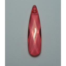 Pendente Goccia Acrilico Sfaccettato 35  x 9 mm Transp.  Rose - 1 pz