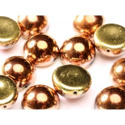 Dome Beads 14x8 mm Jet California Gold Rush - 5  Pz