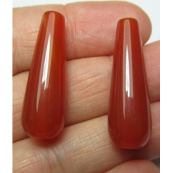 Agate Drop Dyed Salmon/Brown  30x10 mm   -  1 pc